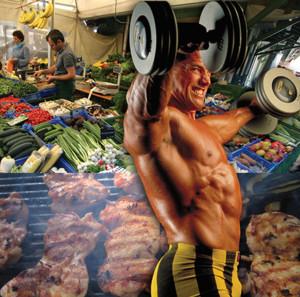 parrillo-principles-bodybuilding-in-front-of-healthy-food